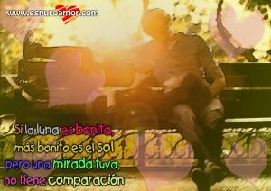 cartel romántico con pareja en banca