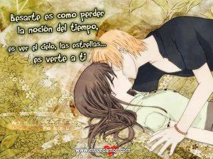 pareja anime besandose con bonito poema