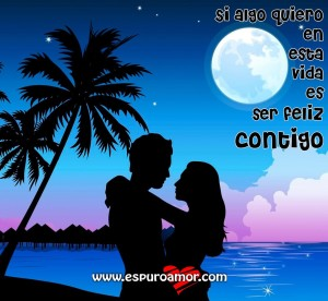 dibujo de pareja bajo la luna con bonito texto