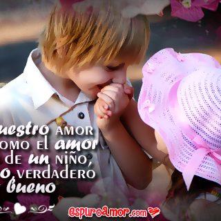Imagen de Amor con Pareja de Niños Enamorados con Frase de Amor para Dedicar en Facebook