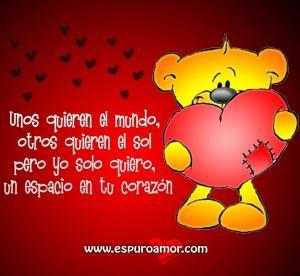 Imagen con poema corto de amor. Este diseño tiene un oso sosteniendo un corazón y corazoncillos flotando, con fondo degradado rojo. Descarga esta imagen gratuitamente y comparte en facebook