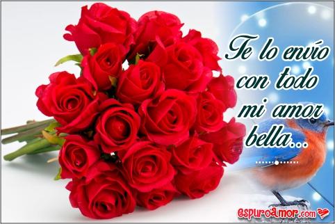 Ramito floral de rosas intensas con un pajarito