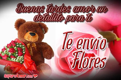 Osito enamorado con ramo de flores