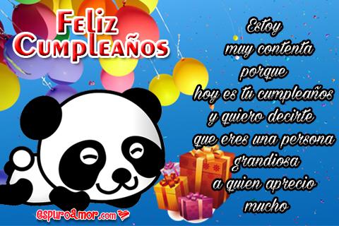 Tarjetita con osito panda feliz por sus regalitos de cumpleaños