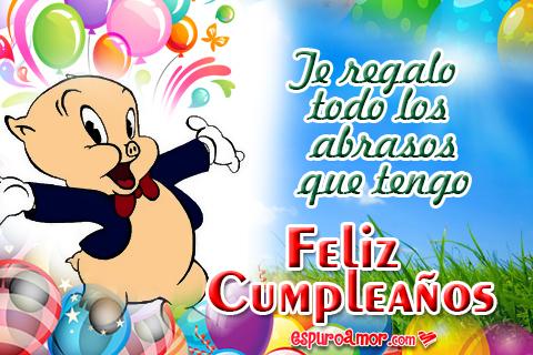 Postales de Feliz Cumpleaños con Tiernos Chanchitos