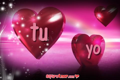 Hermosa tarjeta con corazones tu yo