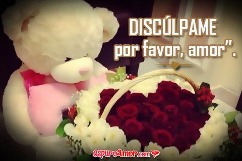 cartel de ositos con rosas para disculparse